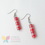 Paper Bead Red Earrings