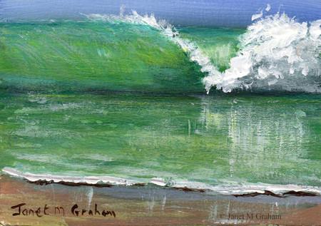 The Wave ACEO, Miniature Painting, Original Seascape acrylic painting, Beach,Sea