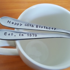 40th Birthday Gift,40 th,Christmas,Teaspoon,Hand Stamped,