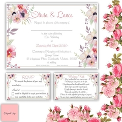 50 WEDDING INVITATIONS SET: RSVP Wishing Well Envelopes Navy Blue Vintage Floral