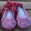 """Baby set - beret and """"dancing feet"""" shoes in pink corn silk fibre ON SALE!!!!"""