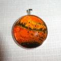 Pendant, necklace, hand painted, round bezel.