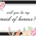 WILL YOU BE MY MAID OF HONOUR GIFT NOTE CARD envelope wedding gift from bride