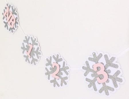 ONEderland First Birthday Snowflake Banner. NB-12 Month photo garland.