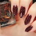 "Nail polish - ""Gravity Drive"" A dark brown with gold glitter"