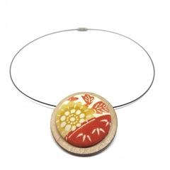 Circular Timber Pendant - Red and Yellow Blossom