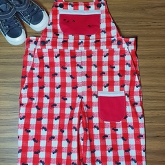 Overalls in red and white check with ants crawling all over😉