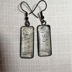 Earrings, hand painted, oblong drop, black frame