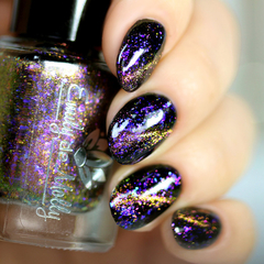 "Nail polish - ""Phoenix Flight"" A magnetic micro flake topper with blue flakes"