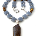 Natural BOULDER OPAL, Sterling Silver Pendant, on Blue ANGELITE  Necklace.
