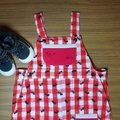 Overalls in red and white check with ants crawling all over😉 Size 0