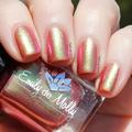 "Nail polish - ""Midlife Crisis"" A reddish base with lime to pink shifting shimmer"