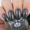 "Nail polish - ""The Dragon King"" dark khaki green with iridescent flakes"