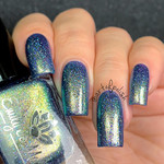 """Nail polish - """"Draft Copy"""" A steel blue base with pink / gold / green shimmer"""