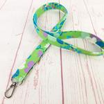Floral Lime Green Lanyard ID Badge Key Holder