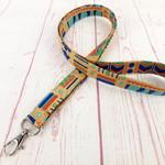 Art Deco Beige Lanyard ID Badge Key Holder