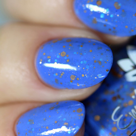 """""""Birthday Project"""" A cornflower blue with glitters"""