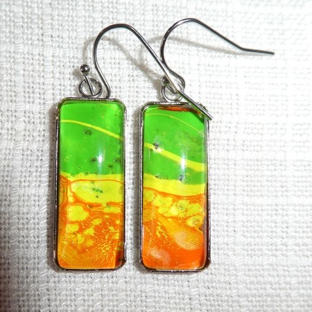 Earrings, hand painted,  