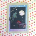 Silver Moon and Two Unicorns Birthday Card for a Child