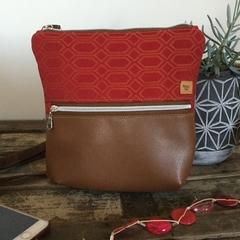 Red & Tan Cross Body Bag
