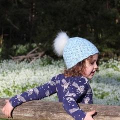 Crochet multicolour blue beanie + detachable white fluffy pompom, 1-5 yrs, gift