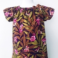 Smock Dress - Plum Floral - Peasant Dress - Retro - Mustard - Size 1-6