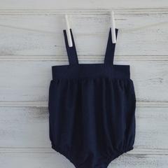 Navy blue girls romper. Easy to layer romper, newborn to 4 years