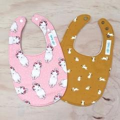 Set of 2 Bibs - Mustard Bunnies - Pink Easter Rabbit - Retro - Cotton