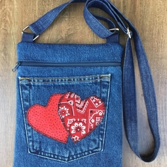 Upcycled Blue Denim Cross Body Bag
