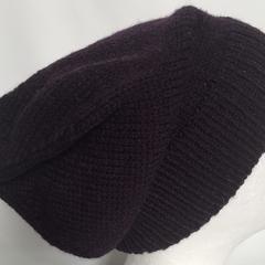 Unisex adult hand knit slouchy/beanie  Alpaca-wool-Silk  Celeste 2/2
