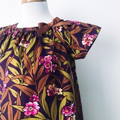 Size 3 Smock Dress - Plum Floral - Peasant Dress - Retro - Mustard