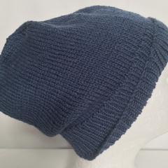 Unisex adult hand knit slouchy/beanie  Alpaca-wool-Silk  Celeste 1/2