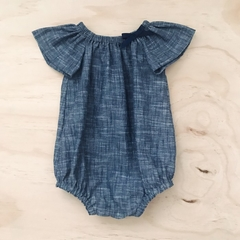 Size 00 - Romper - Cotton - Denim look - Navy - White -