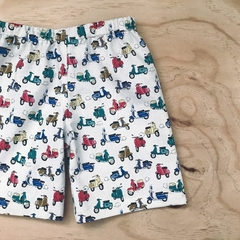 Custom Size 1-6  - Shorts - Scooters - Cotton - Cream - Retro - Boys