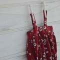 Deep red floral romper, layer romper, babies and small girls