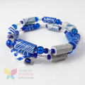 Elegant Blue Paper Bead Bracelet