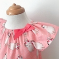 Size 2 -  Smock Dress - Peasant Dress - Bunnies - Easter - Pink