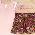Size 2 - Skirt - Plum Floral - Mustard - Retro - Girls
