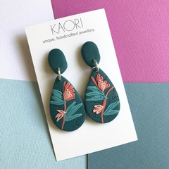 Polymer clay earrings, statement earrings in teal and coral pink floral