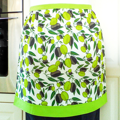 Half Apron Green & Black Olives - retro lined cotton apron