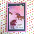 Pink Birthday Card with Two Unicorns