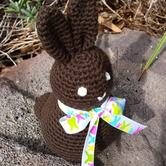 "Crochet ""Chocolate"" brown Easter Bunny soft toy."