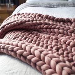 Dusky Pink Chunky Merino Wool Blanket - 25% off