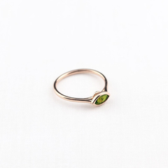 Green Peridot Ring in 14k gold