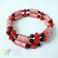 Classic Red Paper Beads Bracelet