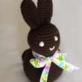 """Crochet """"Chocolate"""" brown Easter Bunny soft toy."""