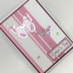 Mother's Day - Pink stripe, Silvery butterfly