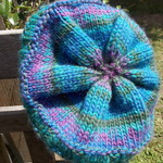 knitted beret, pure wool, purple, green and blue