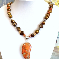 FRESHWATER PEARLS, CARNELIAN Necklace with Sediment Jasper Sterl Silver Pendant.