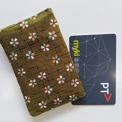 Fabric card holder -SAKURA - Moss green